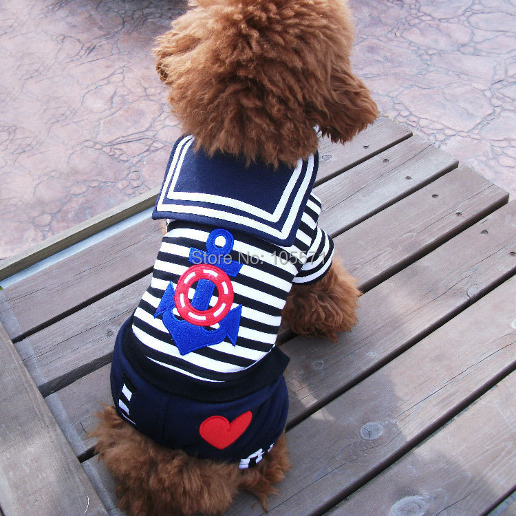 Pet products dog clothes Navy clothing style Handsome rompers Four-legged Teddy Poodle Pomeranians Yorkshire Terriers Shih Tzu(China (Mainland))