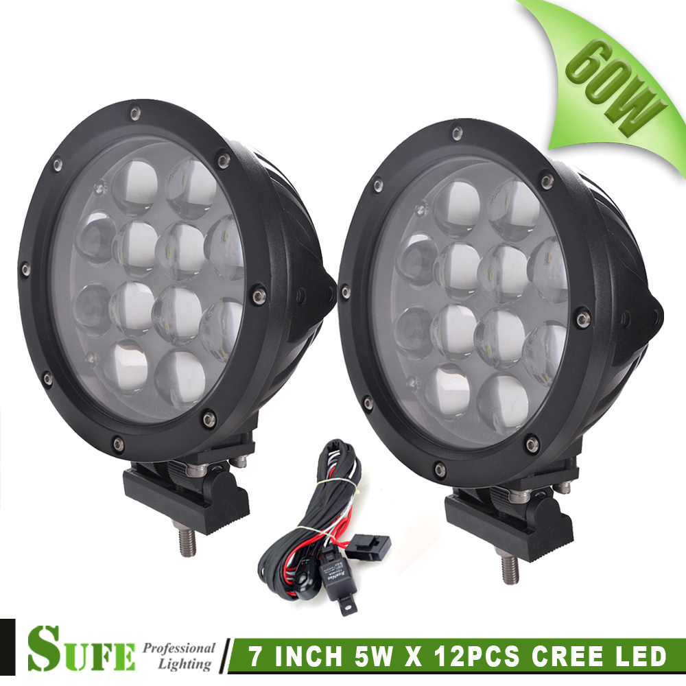 7INCH 60W LED WORK LIGHT SPOT FLOOD BEAM FOG LAMP FOR OFFROAD MACHINERY 4WD ATV SUV USE TRACTOR DRIVING - SUFE Autoparts Lighting Co.,Ltd. store