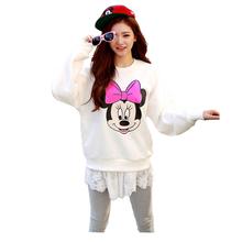 2016 New Fashion Sweatshirt  Women Autumn Winter Hoodies  Cartoon  Pattern Casual Sweatshirt Ladies Long Sleeve mickey  hoody(China (Mainland))