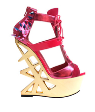 Colorful Rivets patent leather pumps Hollow out Wedge high heel shoes Hot pink/black/gold/blue ankle strap boots(China (Mainland))