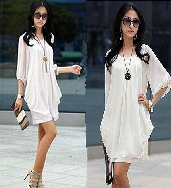 2015 moda para mujer elegante de la gasa delgada Vestidos vestido ocasional mujeres ropa de trabajo