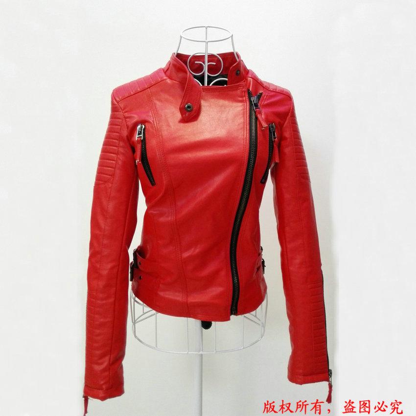 Модная новинка осень зима 2015, женские брендовые куртки из искусственной мягкой кожи, пу кожаный черный красный желтый жакет на молнии с длинным рукавом, мотоциклетная куртка