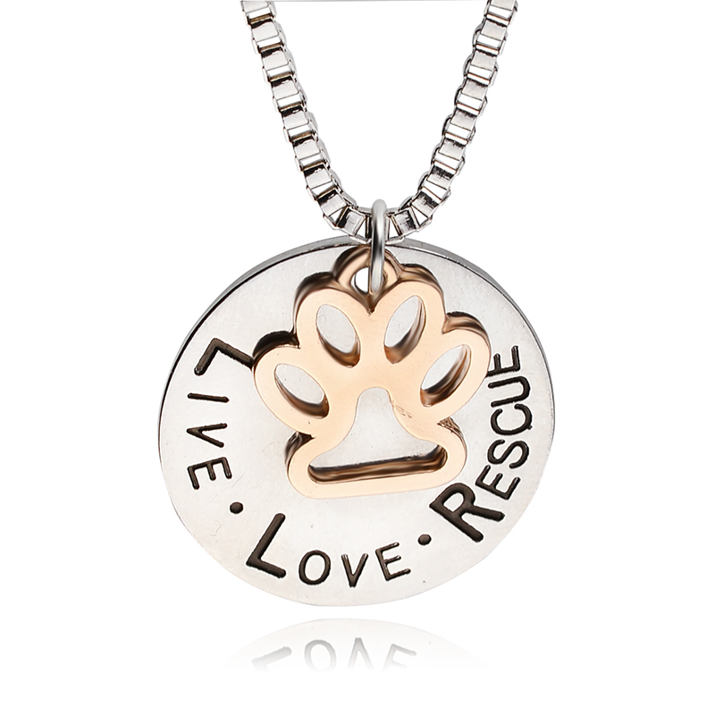"""Hot Pet Lover Dog"""" live love adopt """" Pet Rescue Paw Print Tag Jewelry Sunshine Love Rescue Letter For Dog Lover Necklace Pendant(China (Mainland))"""
