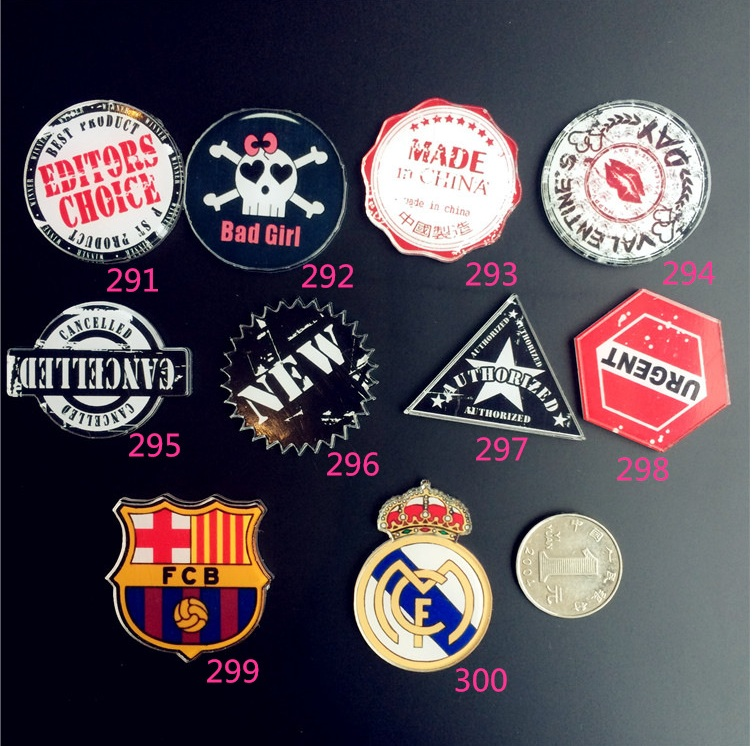 Harajuku Style Round Acrylic Brooch Badge Creative Barcelona Real Madrid Team Logo Clothing Jewelry Accessories Wholesale(China (Mainland))