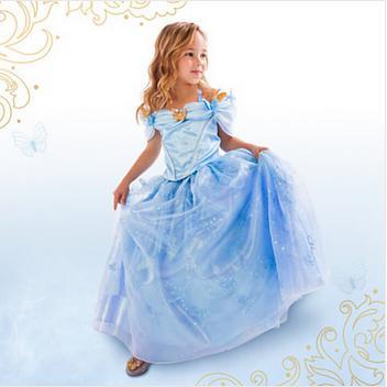 2015 New Cinderella Girl Dress Kids Clothes Children Dress Girls Princess Dress Elsa Anna Dress For Girls Vestidos De Menina(China (Mainland))