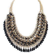 Fashion Jewelry Bohemian Tassels Fringe Drop Vintage Weave Multilayer Collar Necklace Choker Chain Statement Necklace Pendants