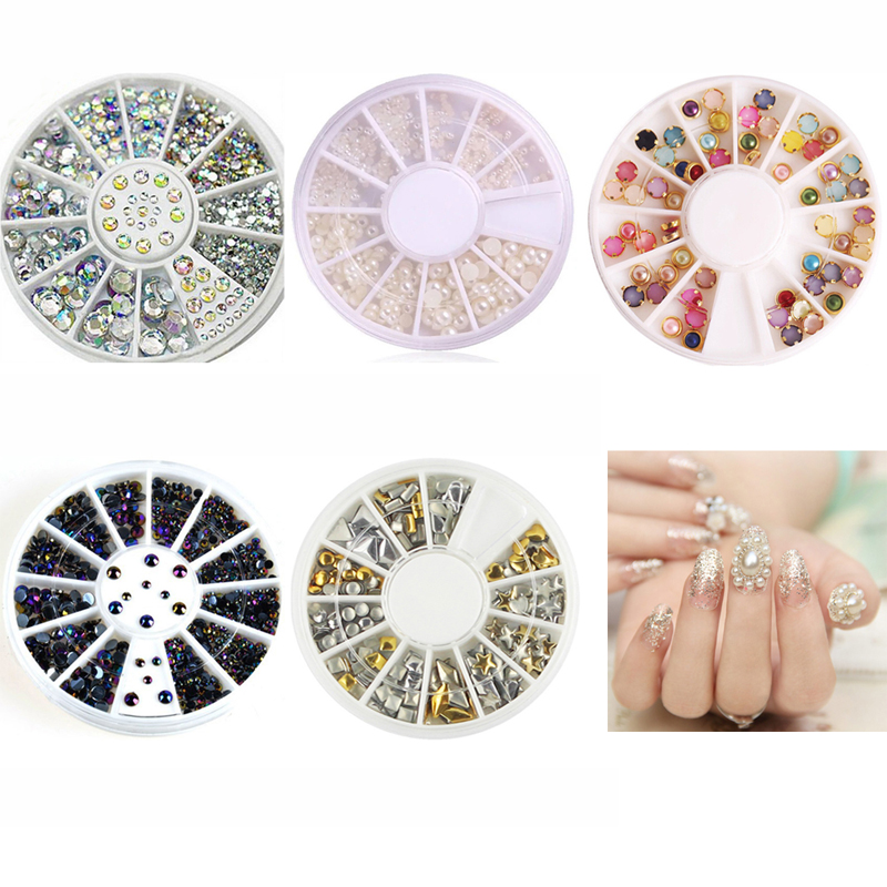 5Pc Nail Art Decoration White Pearl Colorized Rhinestones 3D Glitter Metal Round Wheel Stickers Square Rivet Studs Nail Supplies(China (Mainland))