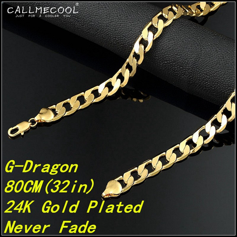 2015 Fashion 24K Gold Plated Big Long Figaro Chains Sterling Copper Luxury Golden Charm Necklaces hip hop jewelry men women gift(China (Mainland))