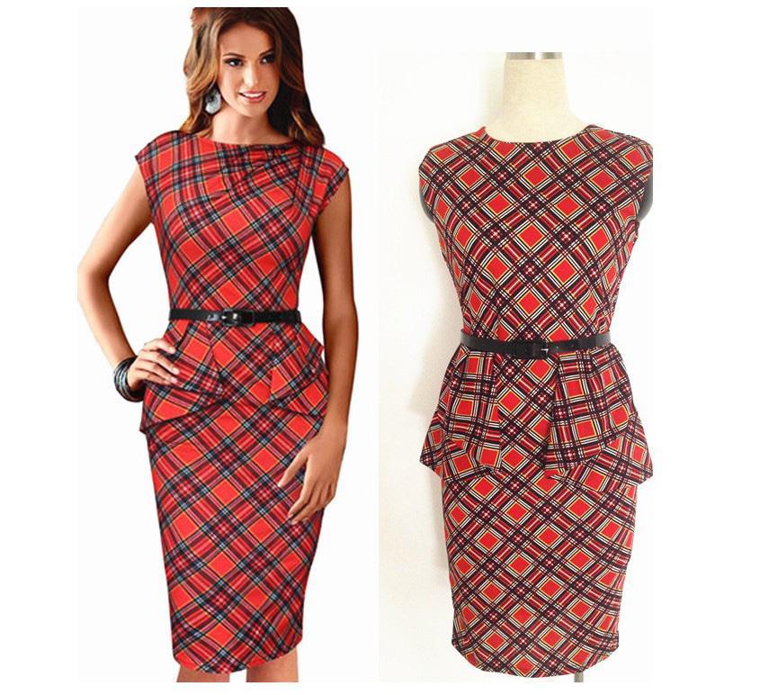 New Womens Vintage Elegant Belted font b Tartan b font Peplum Ruched Tunic Work Office Cap