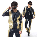 S 5XL Black stitching fashion club leisure boom in male singer stage costumes leather suit