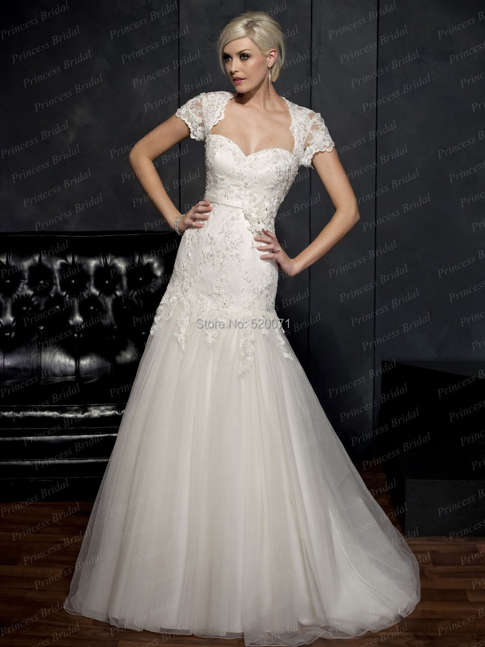 Elegant cap sleeve a line sweetheart backless white ivory for A line sweetheart tulle wedding dress