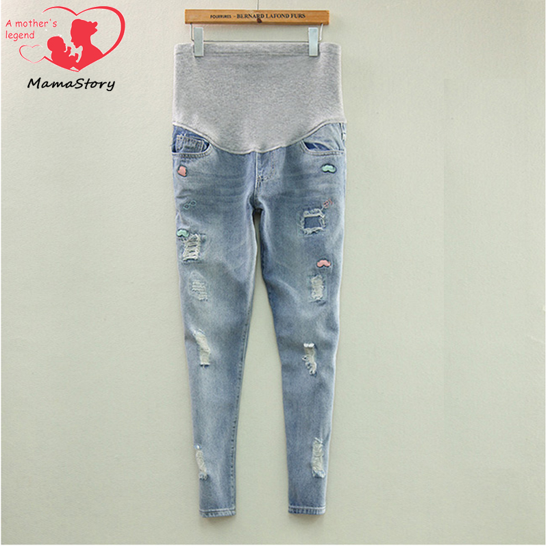 MamaStory Maternity pregnancy Care belly jeans pants for pregnant women Elastic waist jeans pregnant pregnancy overalls clothes<br><br>Aliexpress
