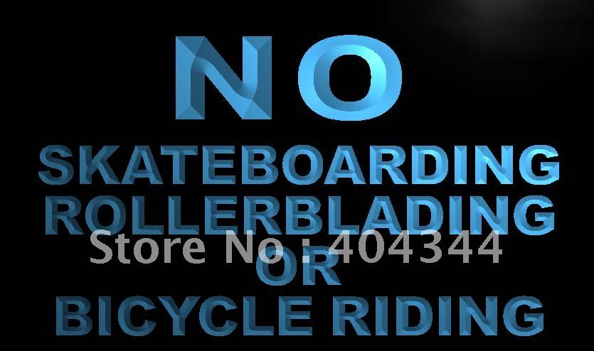 LN841- No Skateboarding Rollerblading Bicycle Neon Sign home decor shop crafts(China (Mainland))