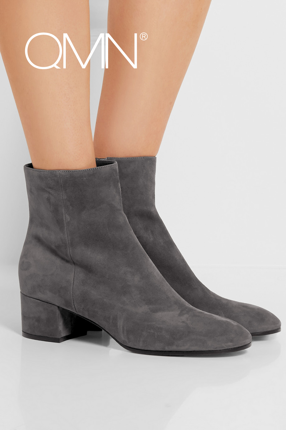 Фотография QMN suede ankle boots for women Leather Fashion Boots Zip Shoes Woman Booties Botas Femininas Gray/Pink 34-39