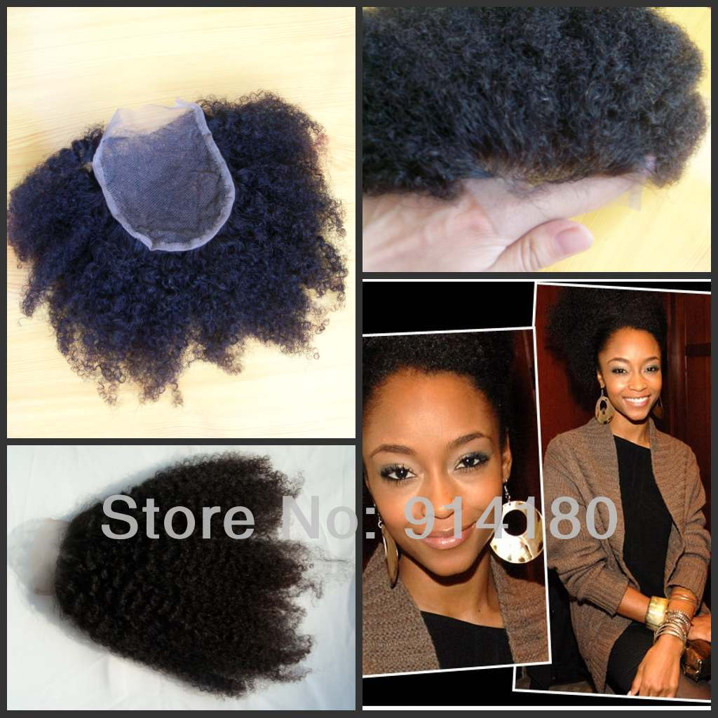 FREE SHIPPING 4*4 Bleached Knots Lace Front Top Closure very kinky curly human virgin filipino hair closure<br><br>Aliexpress