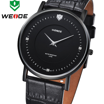 Fashion Ultra Thin Solid Stainless Steel WEIDE Military Watch Quartz Genuine Leather Strap Business Dress Men Sports Watches