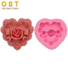 cute lovely Big heart 3D Rose cake decorating mould soap mold DIY Clay moulds Dining Bar molds kitchen accessories F1735