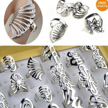 Hot Sale~! 50X Silver plated Rings Wholesale Jewelry Lots Rings Mix Kinds Top Quality Alloy Rings for women Free Shipping