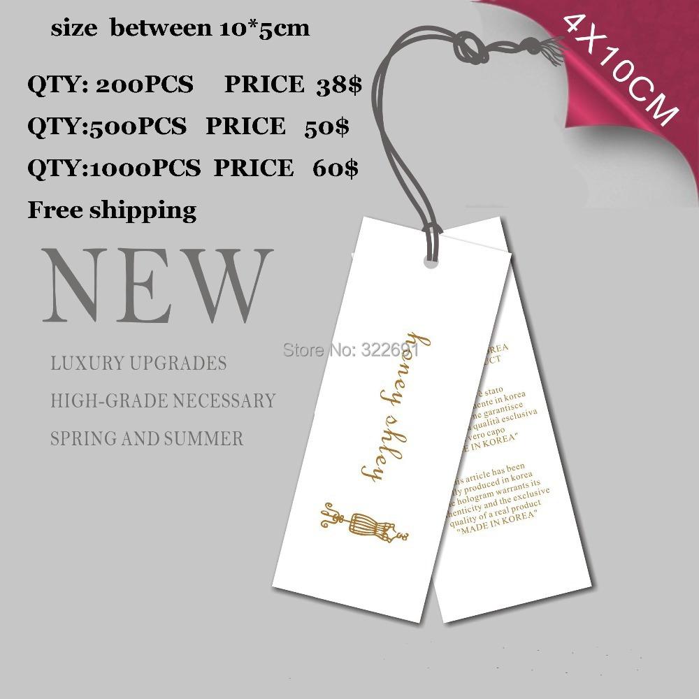 Free Shipping Garment Hang Tags custom printing with personal logo free design(China (Mainland))