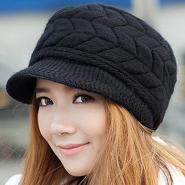 High Quality Fashion Winter Warm Women Crochet Knit Beret Ski Beanie Baggy Peaked Hat Cap YD(Hong Kong)