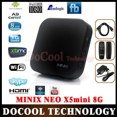 50%SHIPPING 5PCS MINIX NEO X5 Mini Andriod TV Box Dual Core 1GB/ 8GB HDMI WiFi RJ45 XBMC DLNA AirPlay Smart Android TV Box(China (Mainland))