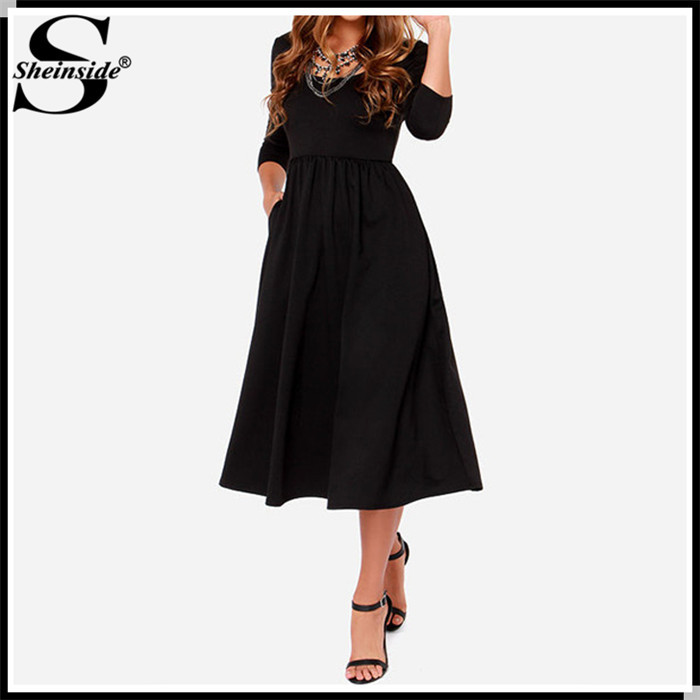 Sheinside 2015 New Arrival Cheap Clothes Women Designer High Quality Fashion Hot Black Long Sleeve Backless Vintage Dress(China (Mainland))