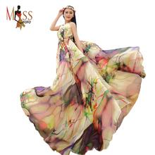 2016 new Summer Beach Resort bohemian women's large hem X-long beach dress Elegant floral print chiffon dress maxi dress(China (Mainland))