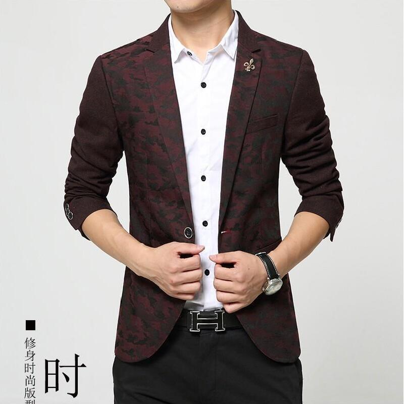 Mens fashion brand korean blazer suit jackets Camouflage printed red blue Male casual jacket single breasted - Anmony Fashion Garment store