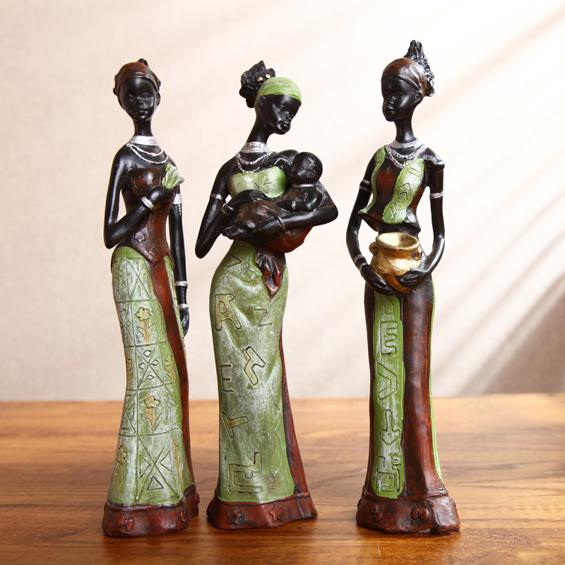 Home decoration resin figurine statue craft ornament gift african women statu - Statue decorative interieur ...