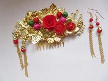 Red Bride Wedding Hair Accessory Head Piece Bride Flower Hanfu Costume Xiu He Fu Wedding Use Hair Jewelry