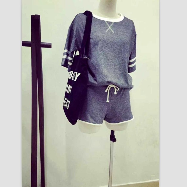 Harajuku,The 2015 new College style sports lady vest&shorts two piece suit,Baseball clothes/Basketball clothes/Tennis suit(China (Mainland))