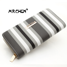 Hot Selling Stripe Wallet Long Design Women Wallets PU Leather High Grade Clutch Bag men Zipper Coin Purse Handbag
