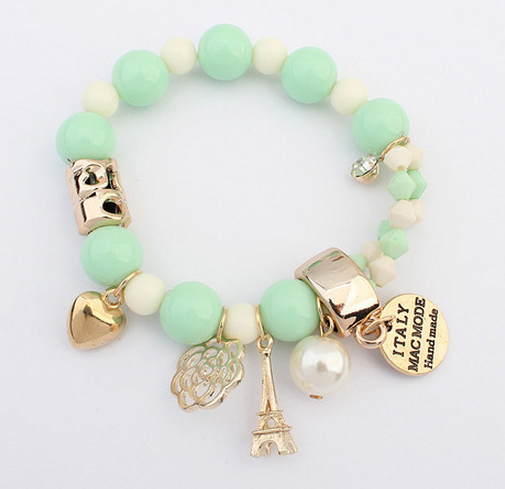 7 Colors 2015 New Brand Fashion Temperament Charm Crystal Gem Pearl Beads Hearts Elastic Force Bracelet Women Jewelry B186 - XY Company (Min order $8 store)