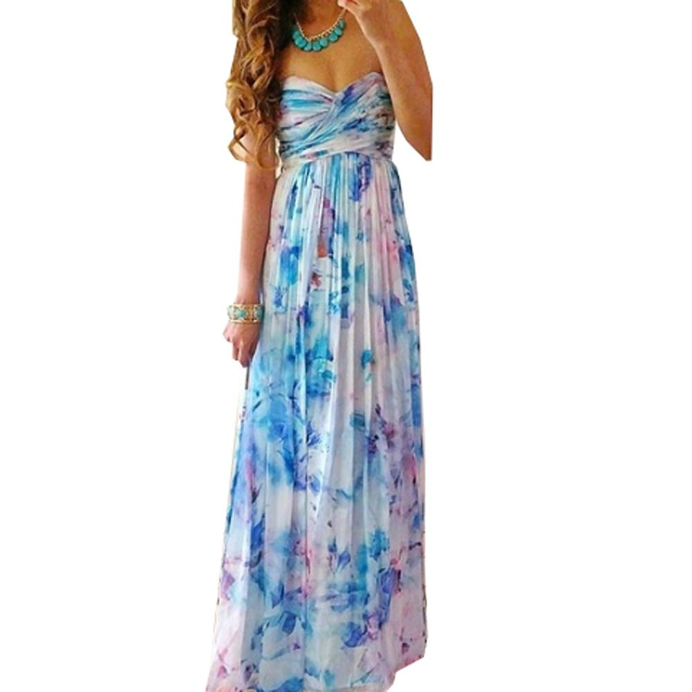 Strapless Summer Dress Maxi Dress Women Dress Print Club Long Dresses Vintage Style Women