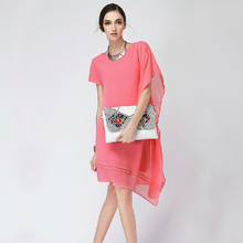 2016 Summer women novelty asymmetrical chiffon dresses,batwing sleeve irregular casual dress, girl dress vestidos 6XL 5XL 4XL(China (Mainland))