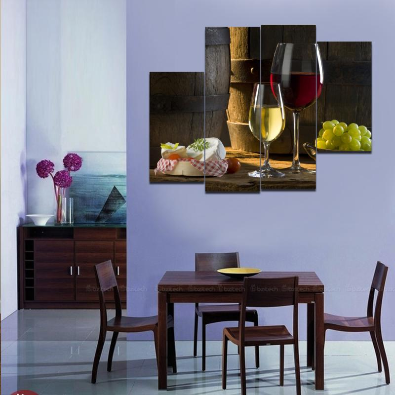 Aliexpresscom buy large muti panel 3 canvas wall art for Dining wall painting