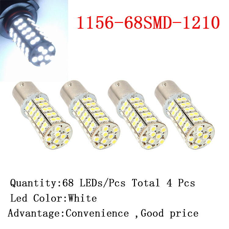 4 Pieces 1156 68SMD 1210 White Micro Dome Index Car LED Lamp Bulbs Super White Light Headlight DC12V(China (Mainland))