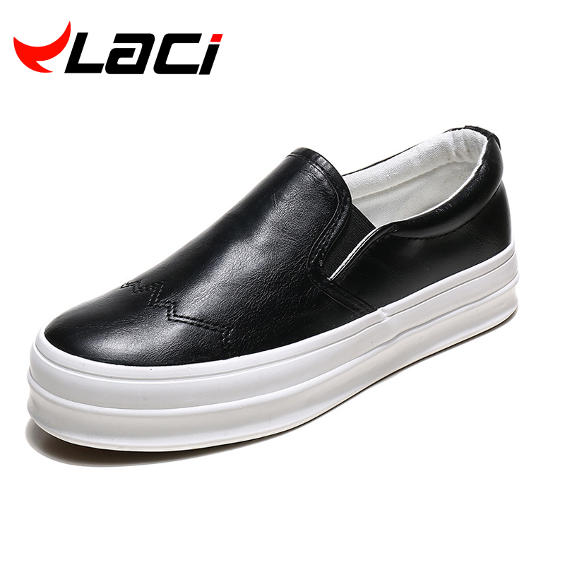 2016 spring new Bullock leather canvas shoes loafer pedal shoes soled shoes lazy creepers shoes white leather platform loafer(China (Mainland))