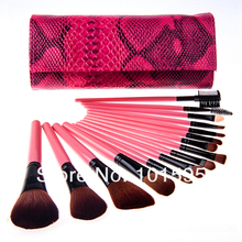 Hot sell!15 Pcs Make Up Brush Set Professional Cosmetics makeup brushes with with Snake Pattern Case