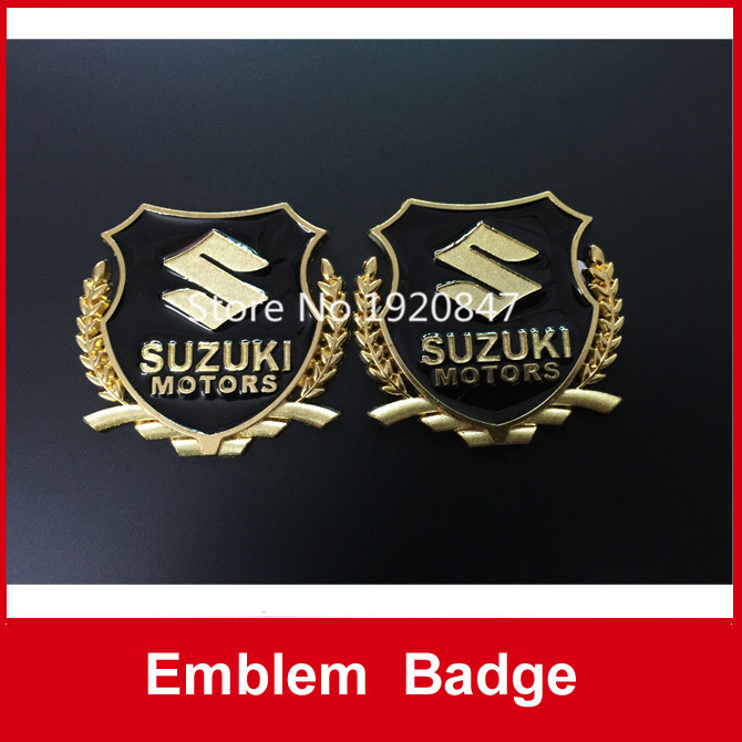 Free shipping 2pcs/set Gold/Silver Color Suzuki Car Side Metal Badge Emblem Decal Sticker(China (Mainland))