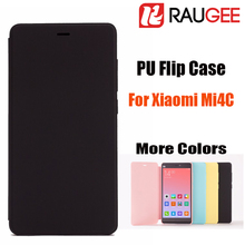 In Stock 100% Original Official Colorful Smart Wake PU+PC Flip Mobile Phone Case For 5.0inch Xiaomi Mi4C With Free Shipping(China (Mainland))