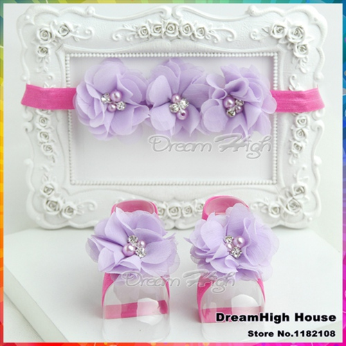 Purple Newborn Baby Boutique Couture girl zapatos shoes Headbands and Barefoot Sandal lace set Rhinestone/pearl #4S1945 retail(China (Mainland))