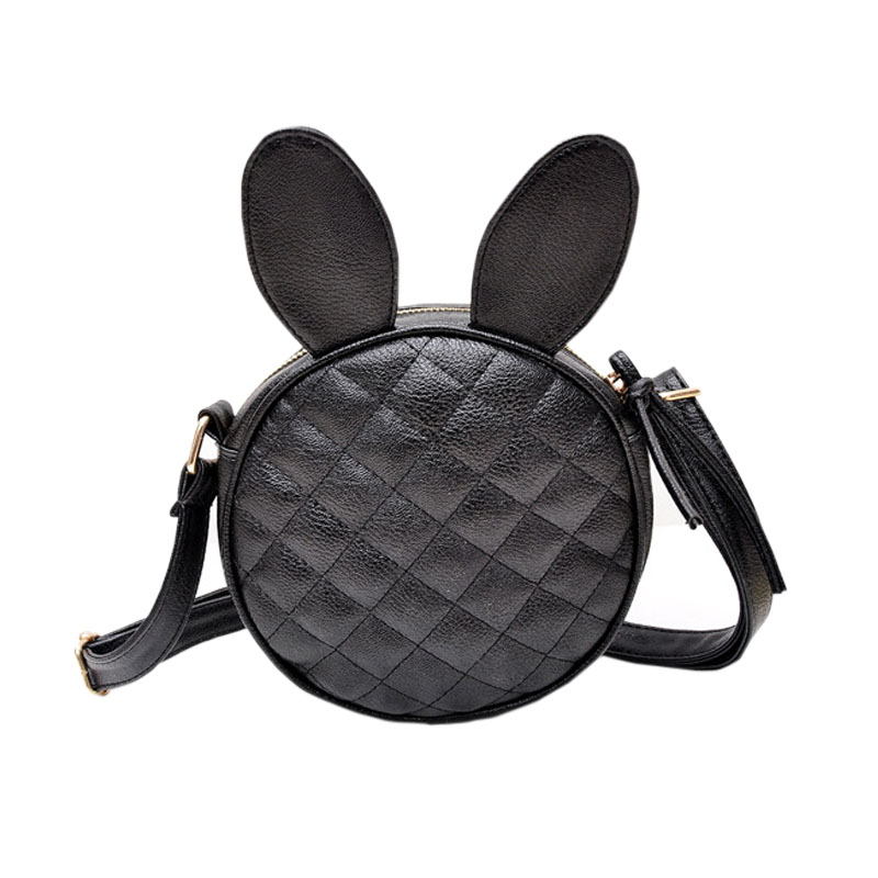 Feitong Fashion Lovely Women Girl Rabbit Ear Round Embroider Line Faux Leather Crossbody Single Handbag Shoulder Messenger Bag(China (Mainland))