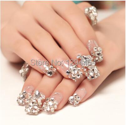luxury large diamond handmade nail designs wedding fake nails with