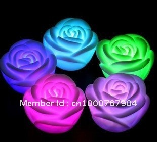 Free shipping Romantic LED Rose Light  changing color LED candle top deal for christmas day