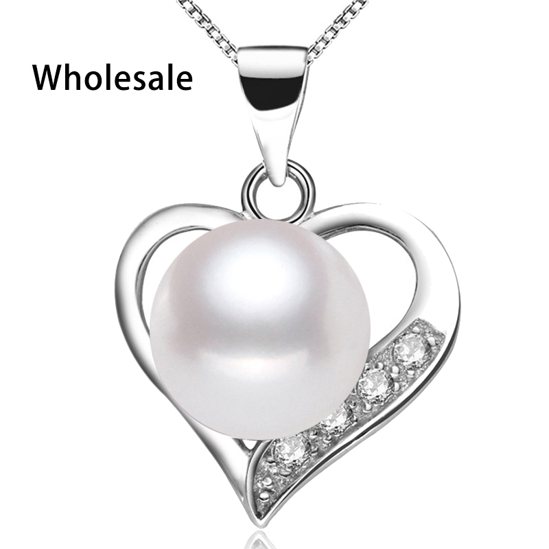 Fast Shipping Valentine's Day Gift Women Crystal Zircon Romantic Heart Pendant Box Chain 925 Sterling Silver 18in Long Necklace(China (Mainland))