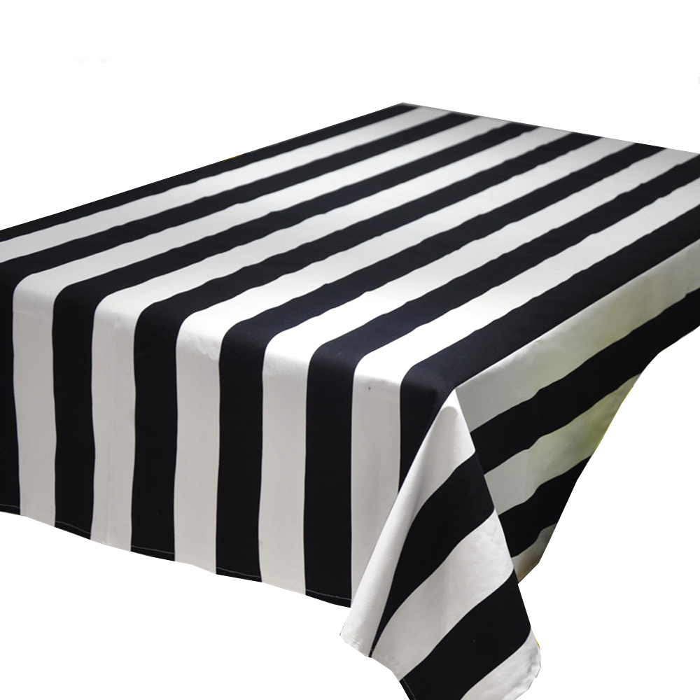 Rectangular Table Cloth Geometric Wave Black and White Striped Square Tablecloth Table Cover Home Restaurant Decoration(China (Mainland))