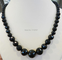 """Fashion jewelry Faceted 6-14mm Black Agate Round Onyx Gems Beads Necklace Natural Stone 18""""MY4325 Wholesale Price(China (Mainland))"""
