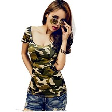 Camouflage Women T-shirt summer new nightclub sexy blouses short-sleeved t-shirt Slim small shirt cotton clothing combat(China (Mainland))