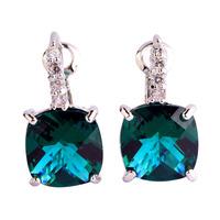 Fashion Women Earrings Hot Jewelry Green Topaz 925 Dangle Hook Silver Earring New Lady Party Gift Free Shipping Wholesale